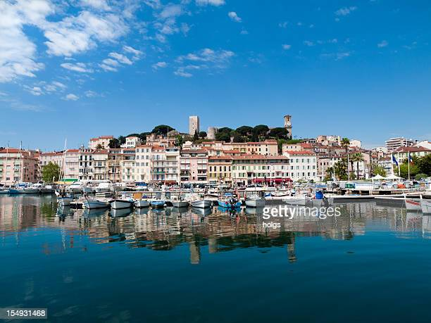 Waterfront and boat harbor in Cannes, France