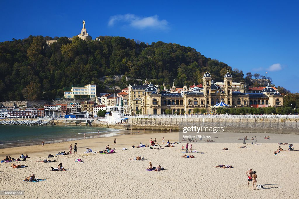 Waterfront and Playa de la Concha beach : Stock Photo