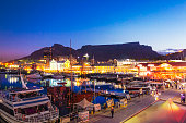 V&A Waterfront and Table Mountain in Cape Town, South Africa.