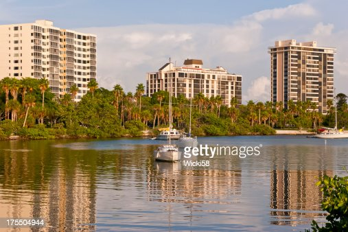 Waterfront Apartment Buildings at Sunset