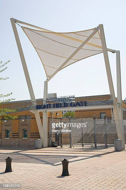Waterfront esplanade with minor league baseball stadium, St. George, Staten Island, New York