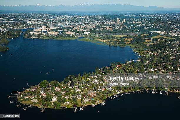 Waterfront homes on Lake Washington in Seattle
