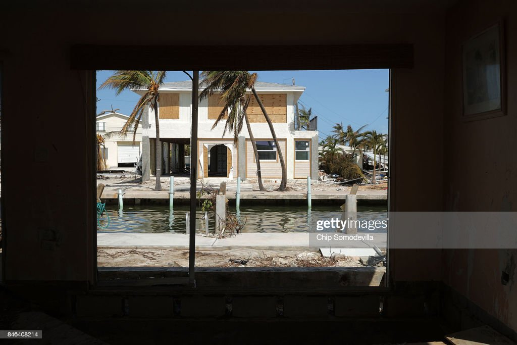 Waterfront homes stand exposed after being destroyed by Hurricane Irma on September 12, 2017 in Marathon, Florida. The Federal Emergency Managment Agency has reported that 25-percent of all homes in the Florida Keys were destroyed and 65-percent sustained major damage when they took a direct hit from Hurricane Irma.