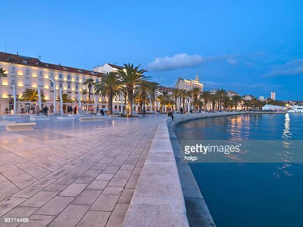 Waterfront in Split, Croatia at night