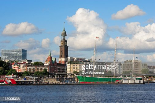 Waterfront of Hamburg with St. Michaelis Church. : Stock Photo