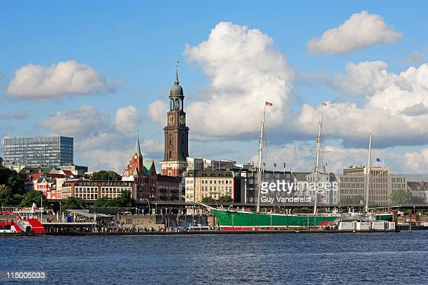 Waterfront of Hamburg with St. Michaelis Church.