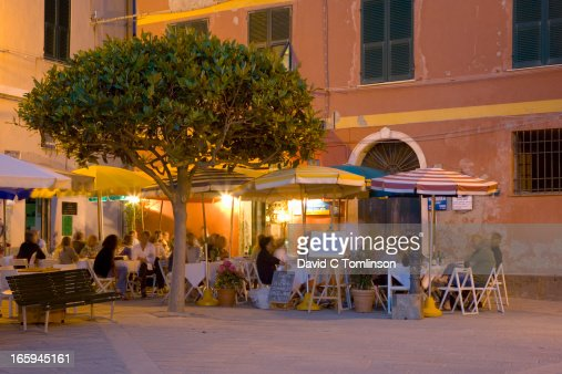 Waterfront restaurants, Vernazza, Liguria, Italy