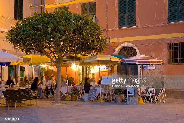 Waterfront restaurants, Vernazza, Liguria, Italy