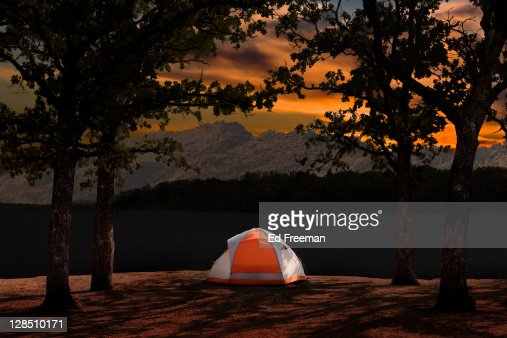 Waterfront Tent Campsite : Stock Photo