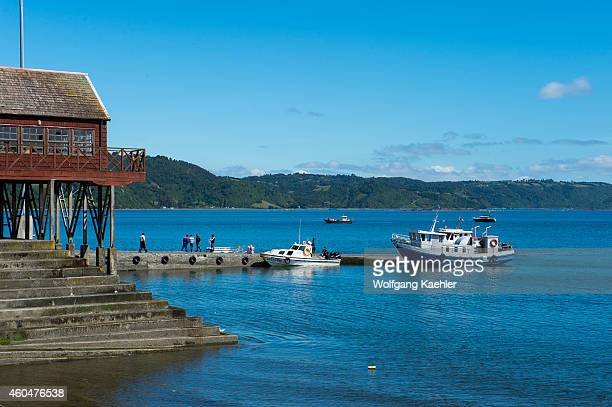 Waterfront with boats in Achao on the island of Quinchao Chiloe Island Chile