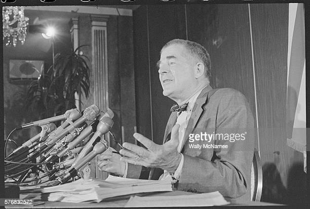 Watergate special prosecutor Archibald Cox speaks during a 1973 press conference