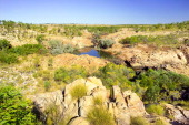 Waterhole in sandstone plateau central range Broadmere Station western Gulf of Carpentaria Northern Territory Australia
