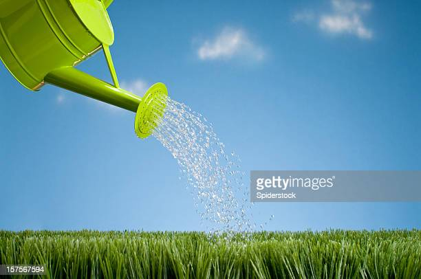 Watering Can Showering The Grass