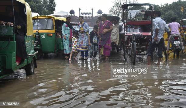 Waterlogging opposite Red Fort Road during the monsoon rain on July 31 2017 in New Delhi India Delhiites woke up to a drenched morning as rains hit...