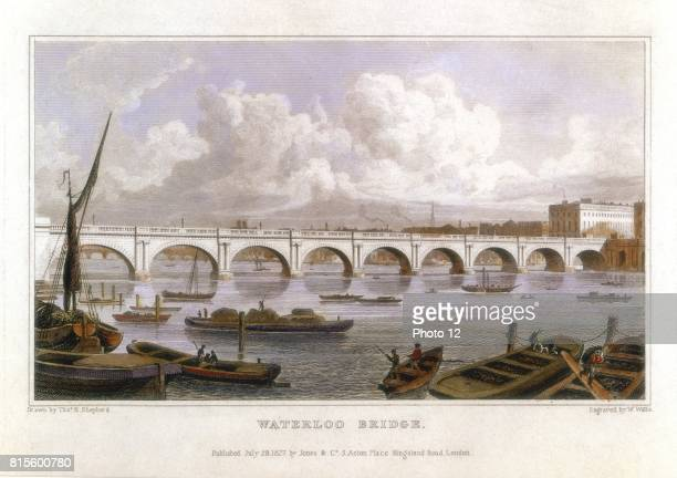 Waterloo Bridge London across the Thames Built by John Rennie between 1811 and 1817 Coffer dams used instead of caissons Illustration by Thomas...
