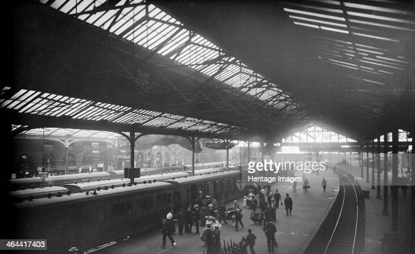 Waterloo Station York Road Lambeth London c18701900 An interior view showing people alighting from the trains The buildings seen here date from 1853...