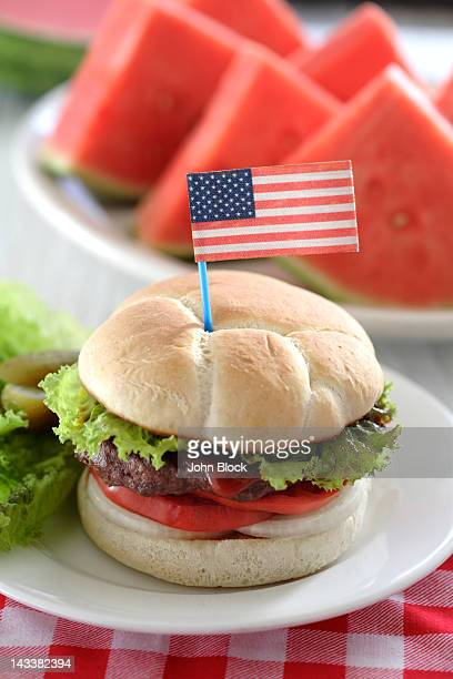 Watermelon and hamburger with American flag decoration