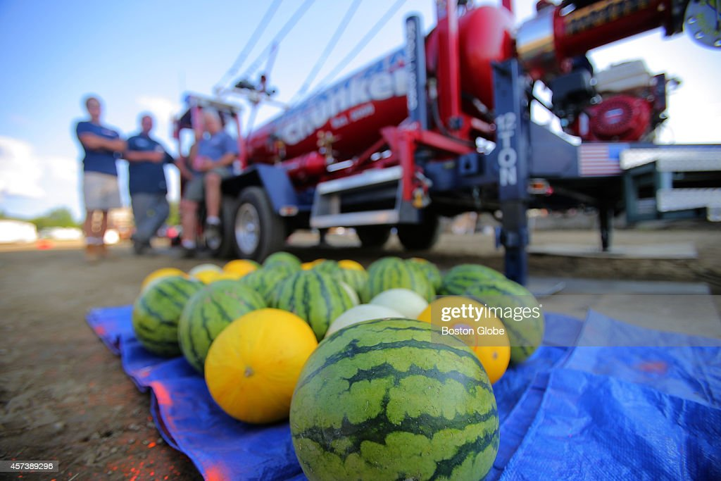 Watermelon cantaloupe and honeydew melons used as ammo wait beside the cannon The American Chunker world champion pumpkin cannon performs at the...