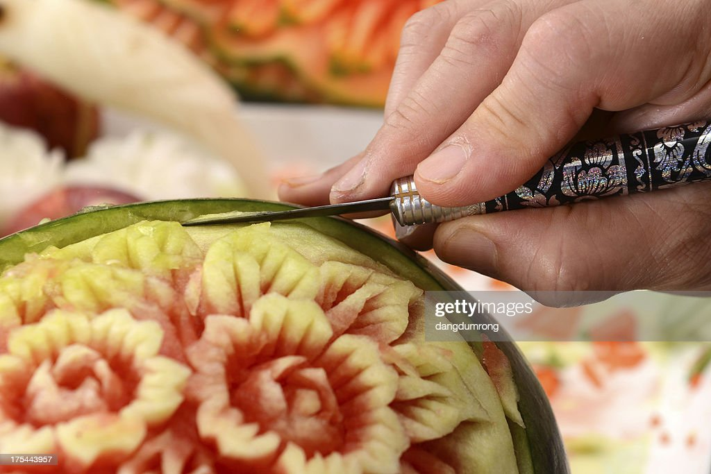 'Watermelon carving food, Thailand'