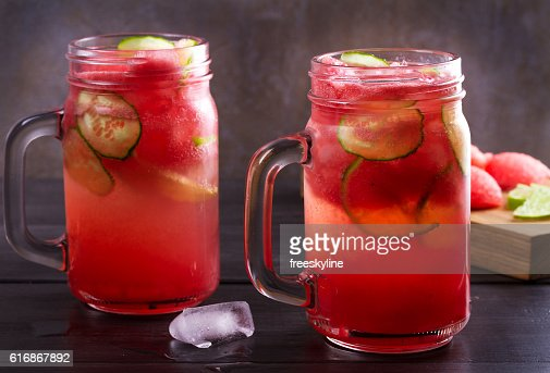 Watermelon cocktail with lime and cucumber. : Stock Photo