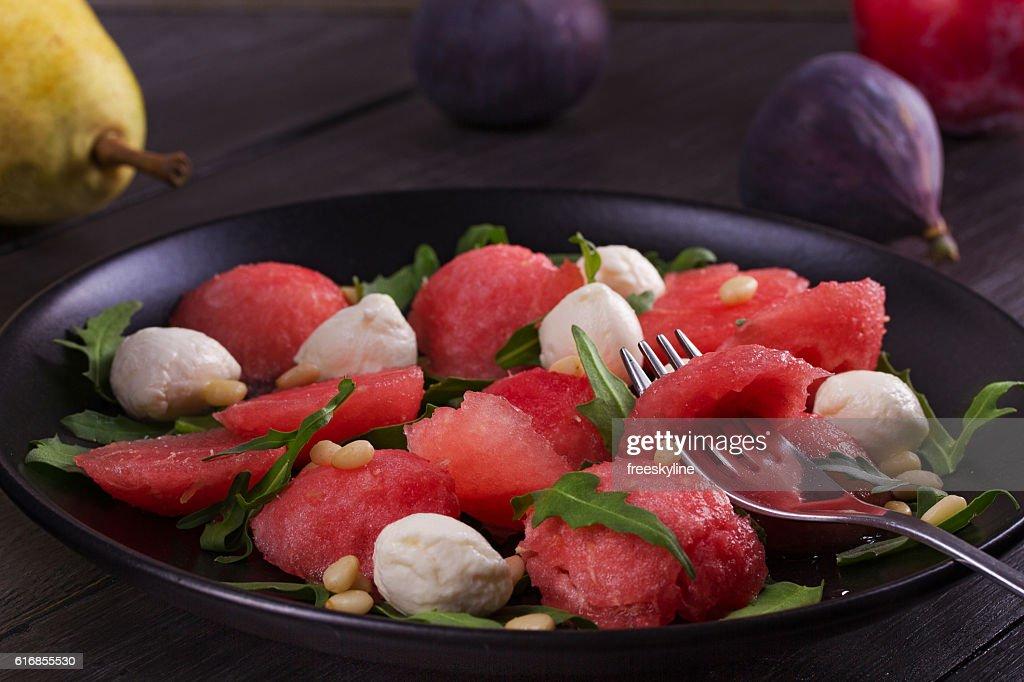 Watermelon, Mozzarella Cheese and Arugula Salad : Stock Photo
