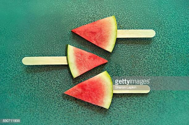 Watermelon on popsicle sticks