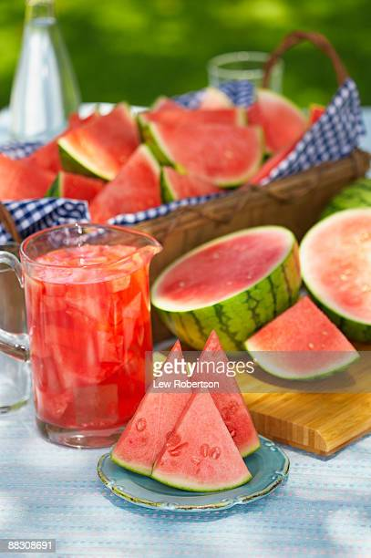 Watermelon slices and punch
