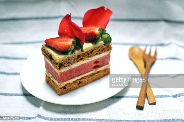 Watermelon Strawberry Rose Cake