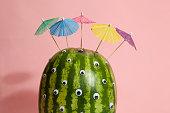 watermelon transform into a freak with umbrella hair cocktail
