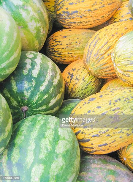Watermelons and Turkish melons in market.