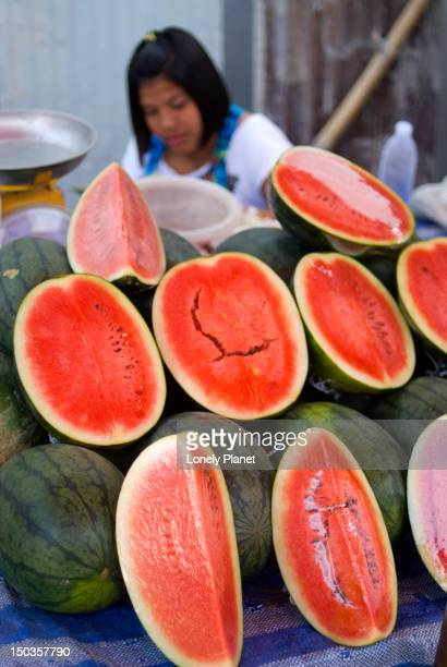 Watermelons for sale at evening market in Rawai area.