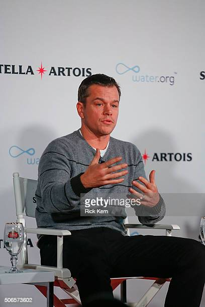 Waterorg CoFounder Matt Damon participated in a panel session hosted by Stella Artois on January 23 2016 in Park City Utah regarding the current...