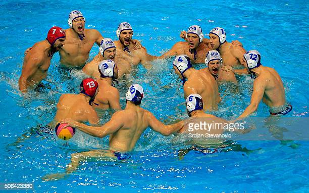 Waterpolo team of Serbia prepare for the match prior the Men's Gold Medal match between Serbia and Montenegro at the Waterpolo European Championships...