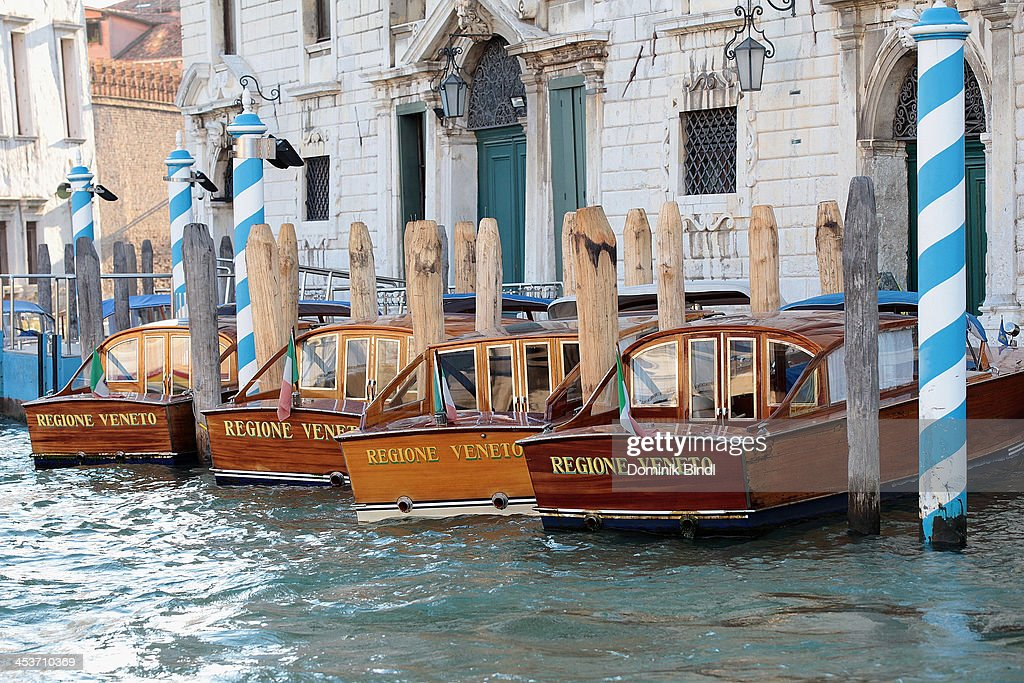 Watertaxis at a landing stage in the Grand Canal on August 17 2013 in Venice Italy