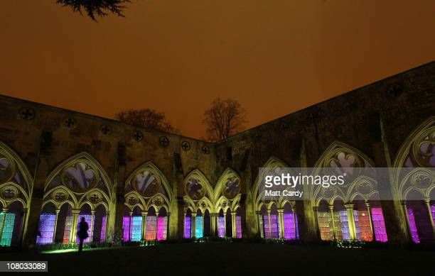 WaterTowers Bruce Munro's newest light and sound installation is displayed in Salisbury Cathedral's medieval cloisters on January 13 2011 in...