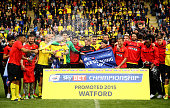 Watford celebrate promotion to the premier league after the Sky Bet Championship match between Watford and Sheffield Wednesday at Vicarage Road on...