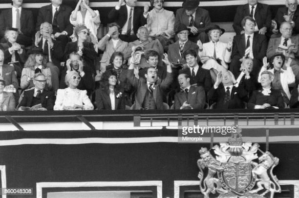 Watford chairman Elton John pictured watching the 1984 FA Cup Final at Wembley Stadium Final score Everton 2 v Watford FC 0 19th May 1984
