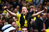 Watford fans celebrate after Matej Vydra of Watford scores to make it 20 during the Sky Bet Championship match between Brighton Hove Albion and...