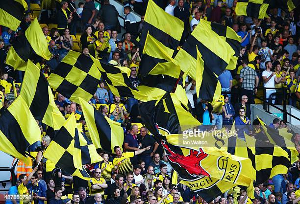 Watford fans show their support during the Barclays Premier League match between Watford and Swansea City at Vicarage Road on September 12 2015 in...