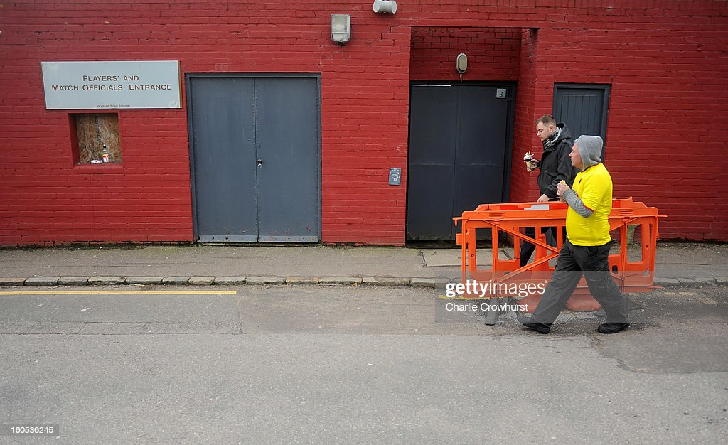 Watford fans walk past the Players and Officals entrance during the npower Championship match between Watford and Bolton Wanderers at Vicarage Road on February 02, 2013 in Watford England.