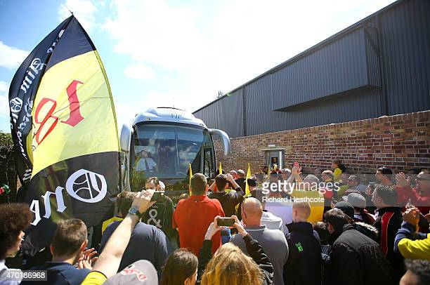 Watford fans walk the team coach down the side of the ground before the Sky Bet Championship match between Watford and Birmingham City at Vicarage...