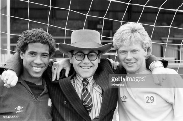 Watford FC gets set for Saturday's FA Cup Semifinal against Plymouth Argyle Left to right John Barnes Chairman Elton John and Mo Johnston 11th April...