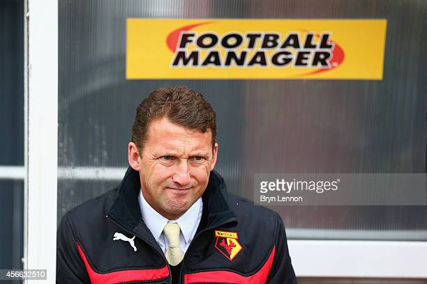 Watford Head Coach Billy McKinlay looks prior to the Sky Bet Championship match between Watford and Brighton Hove Albion at Vicarage Road on October...