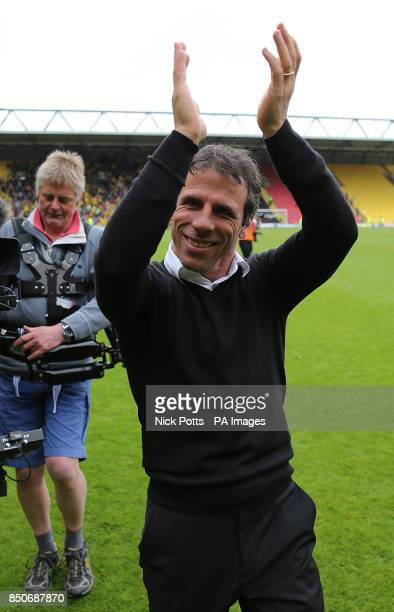 Watford head coach Gianfranco Zola greets home fans on the pitch after the final whistle