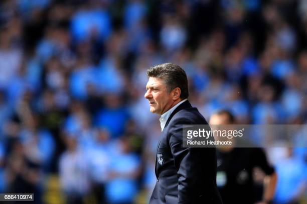 Watford head coach Walter Mazzarri looks on during the Premier League match between Watford and Manchester City at Vicarage Road on May 21 2017 in...