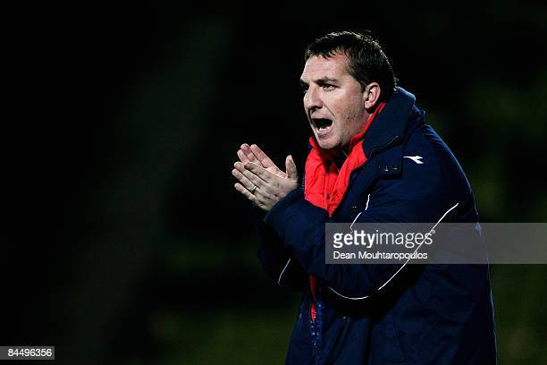 Watford Manager Brendan Rogers gives his team instructions from the sidelines during the CocaCola Championship match between Watford and Burnley at...