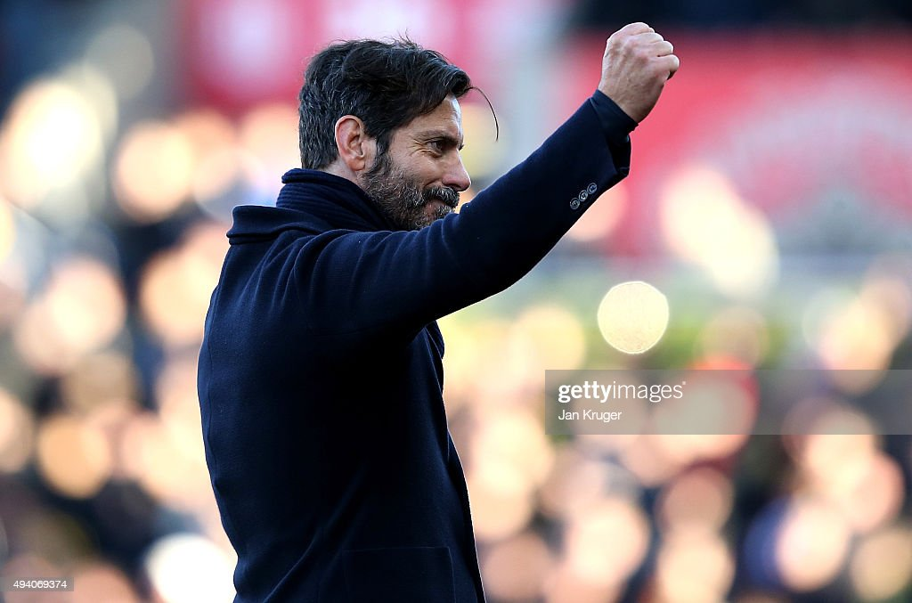 Watford manager Enrique Sanchez Flores punches the air at the final whistle during the Barclays Premier League match between Stoke City and Watford at Britannia Stadium on October 24, 2015 in Stoke on Trent, England.