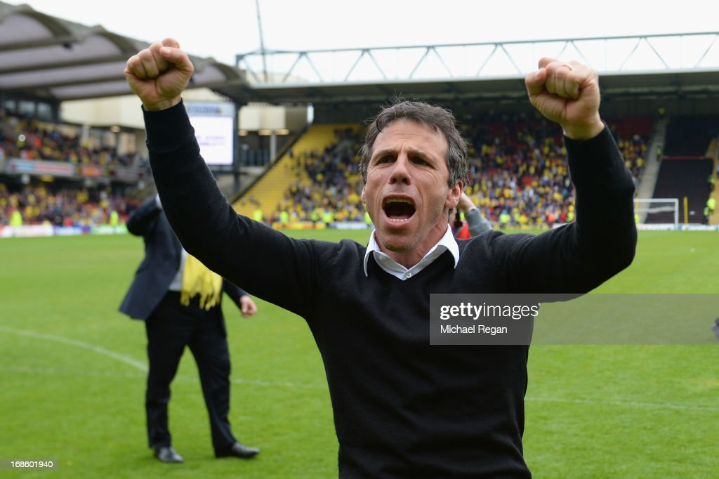 Watford manager Gianfranco Zola celebrates after winning the npower Championship Play Off Semi Final: Second Leg between Watford and Leicester City at Vicarage Road on May 12, 2013 in Watford, England.
