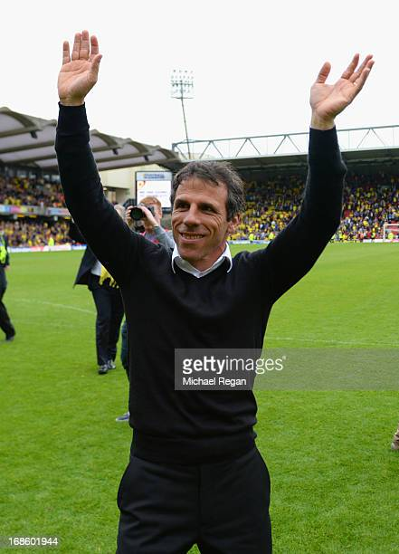 Watford manager Gianfranco Zola celebrates after winning the npower Championship Play Off Semi Final Second Leg between Watford and Leicester City at...