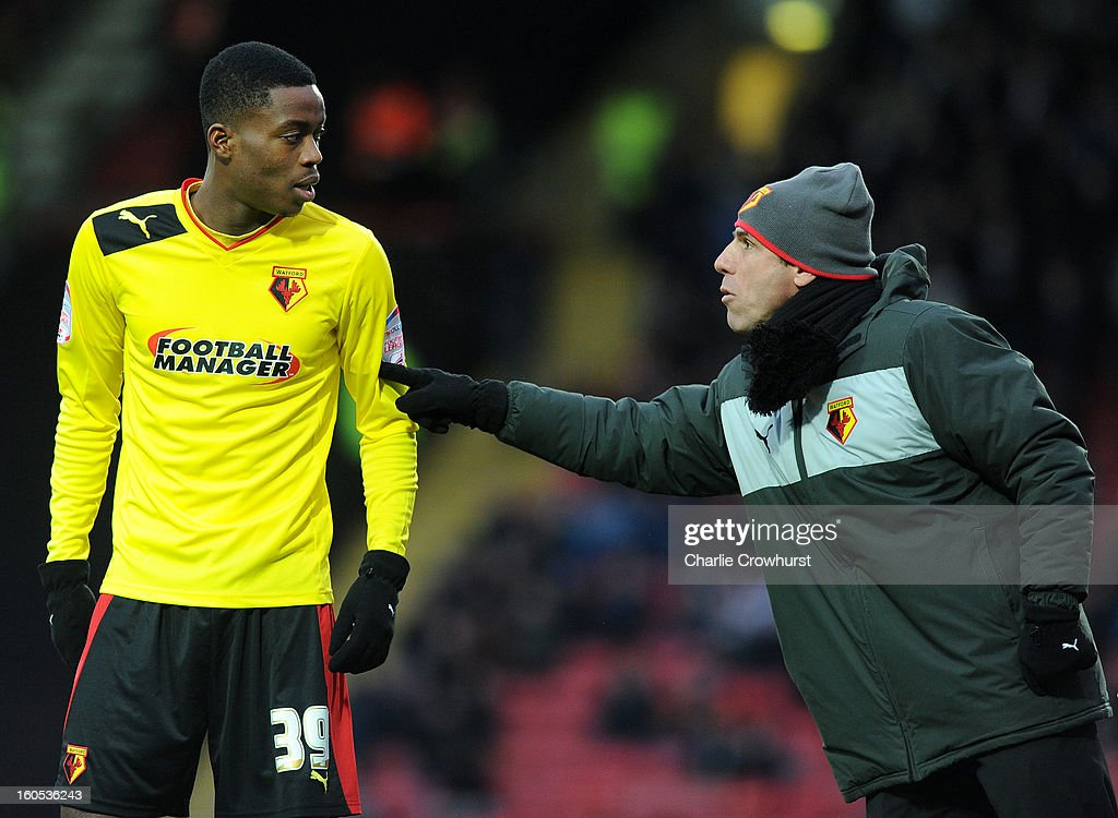 Watford manager <a gi-track='captionPersonalityLinkClicked' href=/galleries/search?phrase=Gianfranco+Zola&family=editorial&specificpeople=213951 ng-click='$event.stopPropagation()'>Gianfranco Zola</a> gets talks with <a gi-track='captionPersonalityLinkClicked' href=/galleries/search?phrase=Nathaniel+Chalobah&family=editorial&specificpeople=5806371 ng-click='$event.stopPropagation()'>Nathaniel Chalobah</a> during the npower Championship match between Watford and Bolton Wanderers at Vicarage Road on February 02, 2013 in Watford England.